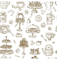 Tea Time Seamless pattern Hand drawn vector image vector image