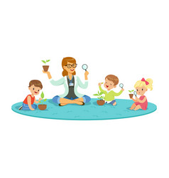 teacher and kids sitting on the floor learning vector image vector image