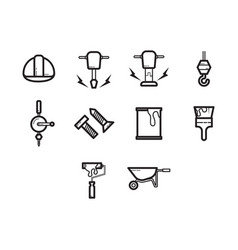 Thin line construction icon set vector