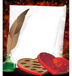Valentines box of chocolates vector image vector image