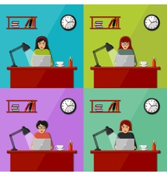 Women working in the office vector image