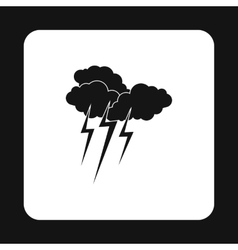 Clouds and lightning icon simple style vector