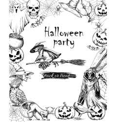 Line sketch vintage poster for Halloween vector image