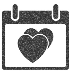 Hearts calendar day grainy texture icon vector