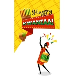 Greeting card for Kwanzaa with Africans woman vector image