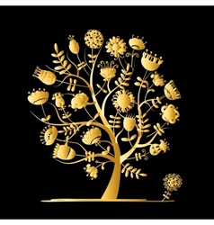 Golden tree with flowers for your design vector image