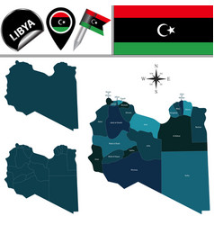 Map of libya with named districts vector