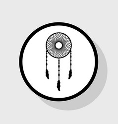 Dream catcher sign  flat black icon in vector