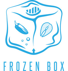 Food box concept with frozen products for bbq icon vector