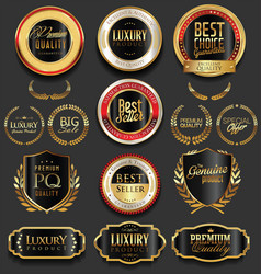Golden luxury badges retro design collection vector