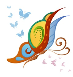 Ornamented abstract colorful butterfly vector