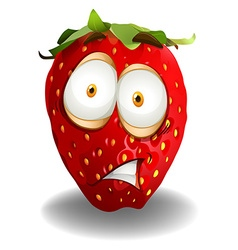 Strawberry with shocking face vector
