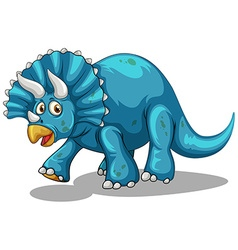 Blue dinosaur with horns vector