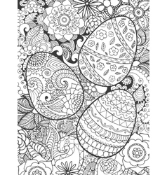 Easter eggs and flowers coloring page vector image