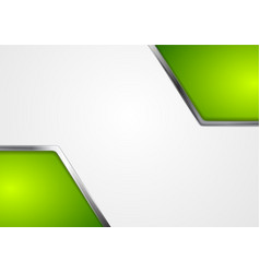 Abstract green corporate background with silver vector