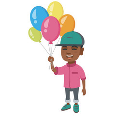 african boy with the bunch of colorful balloons vector image vector image