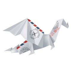 Air mail origami dragon vector