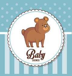 Baby shower card invitation cute bear vector