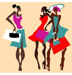 Beautiful Retro Fashion women set vector image