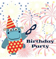 Birthday party background with cartoon hippo with vector