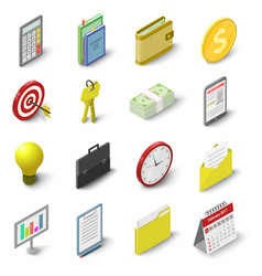 Business icons set isometric 3d style vector