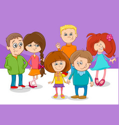cartoon children friends characters group vector image vector image