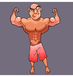 Cartoon funny athletic male bodybuilder is posing vector
