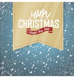 christmas label with falling snow vector image vector image