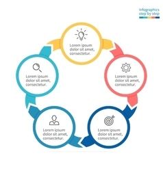 Circular infographics business diagram with 5 vector