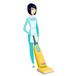 Cleaner cleaning floor with a vacuum cleaner vector