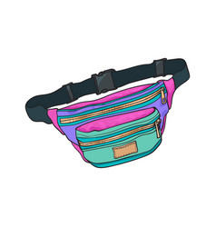 Colorful retro style colorful waist bag fashion vector