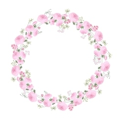 Detailed contour wreath with ranunculus herbs and vector