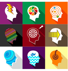 Different man heads icons set flat style vector