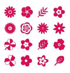 digital red flowers set vector image vector image