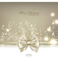 Elegant Christmas background with bow and place vector image