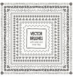 Hand Drawn Balck Pattern Brushes Borders vector image vector image