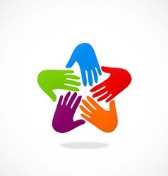 hands circle teamwork logo vector image