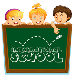 international school sign with three kids vector image vector image