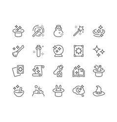 Line Magic Icons vector image vector image