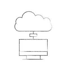 monitor computer with cloud computing vector image vector image