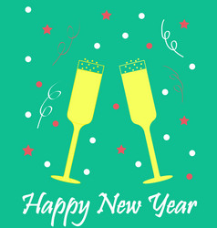 New years card with glasses of champagne green vector