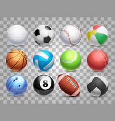Realistic sports balls big set isolated on vector