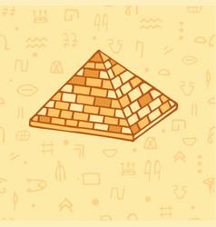 Seamless pattern pyramid and egyptian hieroglyphs vector