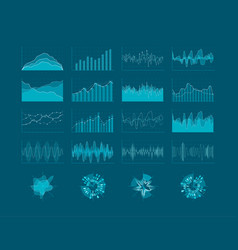 set of hud elements futuristic user interface vector image