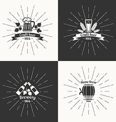 Set vintage logo beer brewery vector