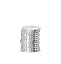 Stacks of silver coins vector