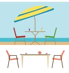 Summer beach furniture flat set vector
