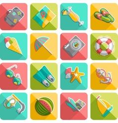 Summer vacation icons flat diagonal slanted vector
