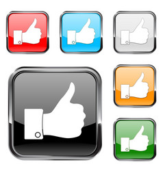 Thumb up button square button with chrome metal vector