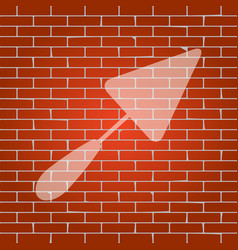 Trowel sign whitish icon on brick wall as vector